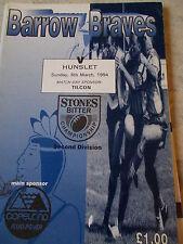Barrow v Hunslet programme 6.3.94