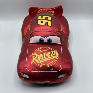 "Disney Store Pixar Cars Lightning McQueen Plush Pillow 15"" Metallic Red Shiny"