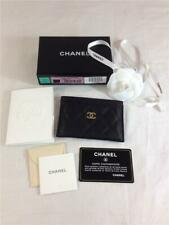 Chanel Porte Cartes Classic Quilted Grained Calfskin Black Credit Card Holder
