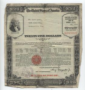 1943 $25 war savings bond large size FL issue [y6278]