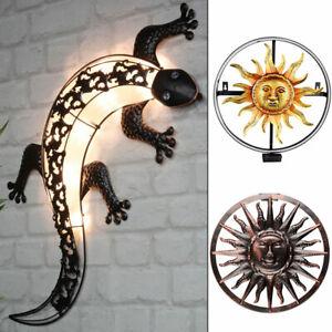 LED Außen Solar Wand Leuchte Sonne Gecko Design Veranda Strahler rund Deko Lampe