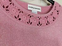 Cathy Daniels Pink Sparkle Sweater Crochet Trim Round Neck 3/4 Sleeves Size L