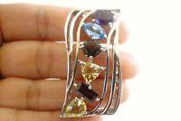 Multi-Gemstone Amethyst Topaz Citrine Garnet 925 Sterling Silver Slide Pendant