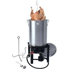 Turkey Fryer Kit 30 Quart Heavy With Spout Stand and Regulator Fry Boil Steam