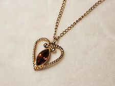 Vintage Avon Smoky Faux Topaz Heart Shaped Pendant Necklace Ladies Jewelry