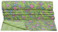 INDIAN COTTON GREEN FLORAL KANTHA QUILT TWIN BEDSPREAD THROW BLANKET HANDMADE