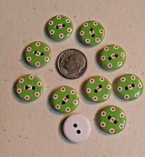 """10 GREEN with RED DOTS White Wood Buttons 5/8"""" (15mm) Scrapbook Crafts (2004)"""