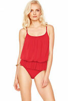 NWT GOTTEX 10 blouson swimsuit one-piece mesh overlay underwire RED flattering