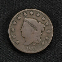 1831 1c CORONET HEAD LARGE CENT LOT#Y471