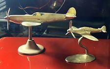 More details for vintage brass desktop set of two spitfire models