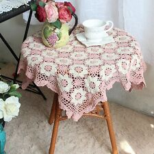 Again! Lovely Hand Crochet Pink Ivory Flower Square Cotton Table Cloth Topper