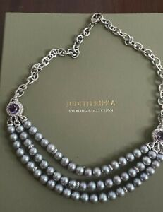 """NWOT 20"""" Judith Ripka Sterling Triple Strand Cultured Pearl Necklace"""