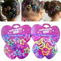 12PCS/Set Kids Girls Candy Color Barrettes Cartoon Butterfly BB Hair Clips New