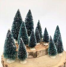 Conjuntos de pequeños Botella de cepillo de cerdas de Navidad Artificial Decoración Árboles Scandi