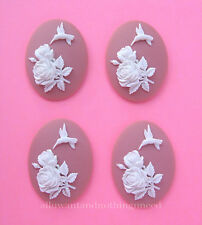 Bubblegum Pink 40mm x 30mm Craft Cameos 4 new unset White Hummingbird & Roses on