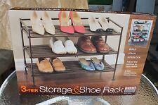 Seville 3-Tier Storage&Shoe Rack-Steel Fr-Wood Resin Slats(Single Pk)-NIB Sealed