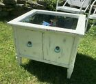 Vintage Distressed Ivory End Table Storage Mirrored Top Shabby Chic ReFab West