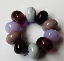 10 PURPLE/LILAC TONES SPACER LAMPWORK BEADS SRA