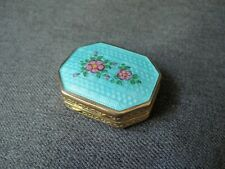 Antique cute flowers turquoise guilloche enamel gilt silver small purse compact