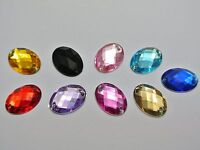 100 Mixed Color Flatback Acrylic Oval Sewing Rhinestone Button 13X18mm