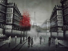 Pintura De Oleo En Lienzo Gigante, Paizaje de Paris Negro Y Blanco Rojo, Arte.