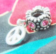 .925 SILVER BEAD EUROPEAN CHARM FOR BRACELET PEACE SIGN DANGLE #A72 NEW PINK
