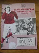 17/12/1983 Hearts Of Midlothian v Celtic  (Creased, Fold, Marked, Writing On Cov