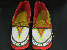 10 1/2 INCHES LONG NATIVE AMERICAN FULLBEAD MOCCASINS GRACEFULL BEADED DESIGN
