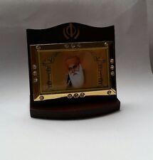 First Sikh Guru Nanak Dev Ji Photo Portrait Khanda Wooden Desktop Stand G15 Gift