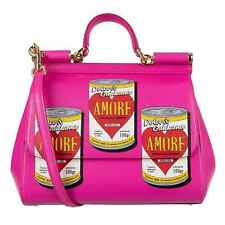 Dolce & Gabbana Dauphine Pelle Borsa Miss Sicily Totale Amore Cans Fucsia 08699