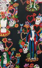 Tree of Life Sugar Skulls Alexander Henry  8424 BR Black Cotton Quilt Fabric