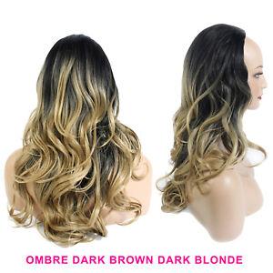 "Ladies 3/4 Half Wig Dark Brown / Dark Blonde Ombre Wavy 22"" Heat Resistant"