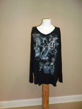 Just my size Women's long sleeve V-neck Hi-low Graphic Tee Black 3X(22/24w) NWOT