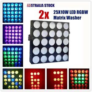 2 Pcs 25x10W LED Wall Wash Effect RGBW Color Matrix Beam Light DMX Sound Active