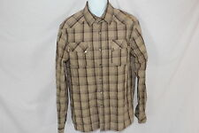 Mens Southpole Premium Brown Plaid PEARL SNAP Long Sleeved Shirt - Size L