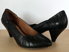 CLARKS INDIGO Womens Black Pleated Leather Comfort Pumps Heels Shoes Size 8 M
