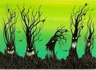 ACEO Original Creepy Spooky Whimsical Forest Animated Ravens ATC Fun Art HYMES