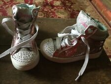 Sketchers Girls Pink Sparkly Boots Trainers Size 11