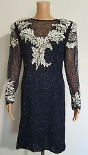 Laurence Kazar Beaded Silk Dress Navy Blue Silver Sequins Size M