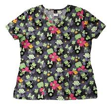 Disney Womens St Pats Day Mickey & Minnie Mouse Shamrock Scrub Shirt Top