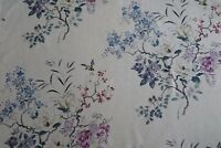 "SANDERSON CURTAIN FABRIC DESIGN ""Magnolia & Blossom"" 3.9 METRES AMETHYST/SILVER"