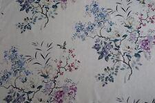 Sanderson Curtain Fabric Magnolia & Blossom 1.4m Amethyst/silver Design 140cm