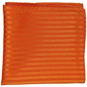 New men's polyester woven tone on tone stripes orange hankie pocket square