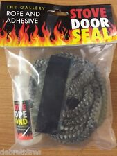 12MM X 2.5M PD BLACK STOVE DOOR SEAL ROPE KIT AND 50ml GLUE FIRE  WOODBURNER