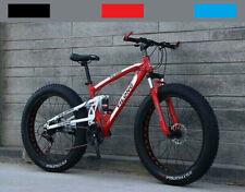 "26"" FAT Tire Mountain Bike 21 Speed MTB Frame Bicycle Full Suspension Men/Women"