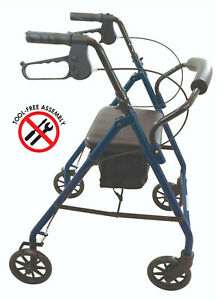 """Durable 4 Wheel Rollator 6"""" Wheels by Wave Medical Adult Walker Portable Chair"""