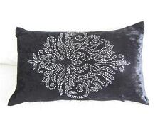 Black Velvet Diamonte French Luxe Oblong Cushion Cover 30x50cm
