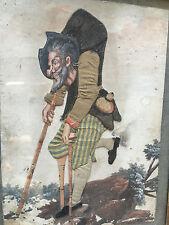 Tableau Début 19 ème Curiosité Tissu et Peinture Caricature Humoristique
