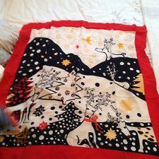 Authentic Flora Kung Reindeer Print Scarf 100% Silk