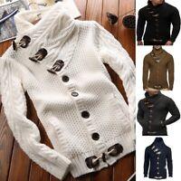 Men Turtleneck Cardigan Sweater Coat Silm Fit Warm Knitted Outwear Winter Tops